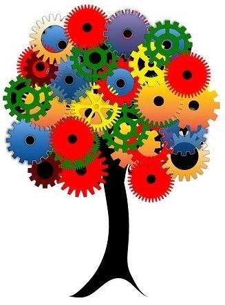 Logotipo del Equipo de ConDiversidadFuncional. Un árbol creado a partir de ruedas de engranaje.